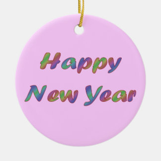 happy new year Double-Sided ceramic round christmas ornament