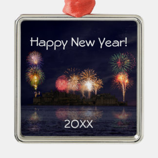 Happy New Year Silver-Colored Square Decoration