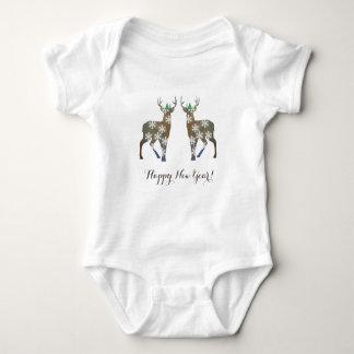 Happy New Year Deer Baby Bodysuit