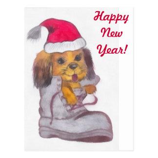 Happy New Year Dog Postcard