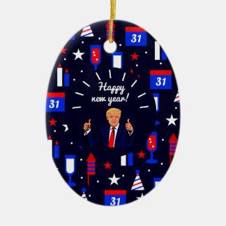 happy new year donald trump ceramic oval decoration