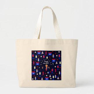 happy new year donald trump large tote bag