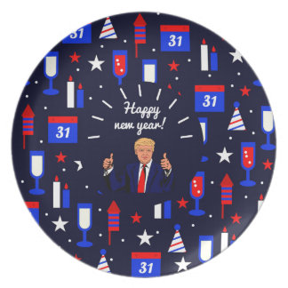 happy new year donald trump party plates