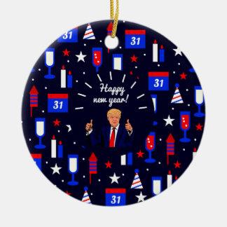 happy new year donald trump round ceramic decoration