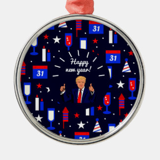 happy new year donald trump Silver-Colored round decoration