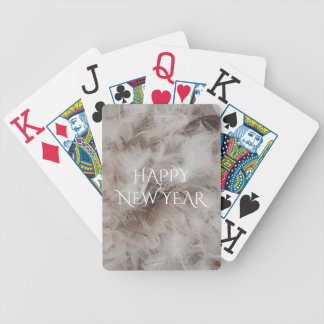 Happy New Year Down Comforter Feathers Photography Bicycle Playing Cards