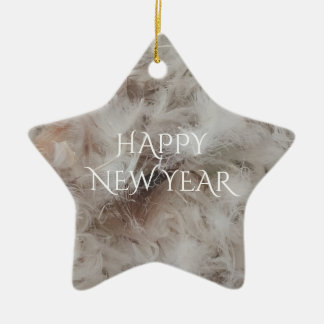 Happy New Year Down Comforter Feathers Photography Ceramic Ornament