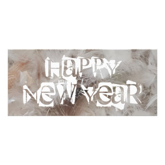 Happy New Year Down Comforter Feathers Photography Rack Card