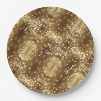 Happy New Year Elegant Festive String of Lights Paper Plate