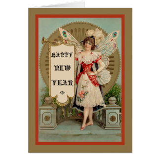 Happy New Year Fairy With Trumpet and Banner Card