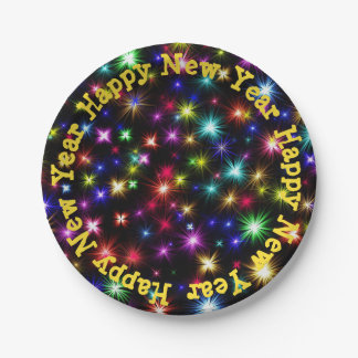 Happy New Year festive fireworks paper plates