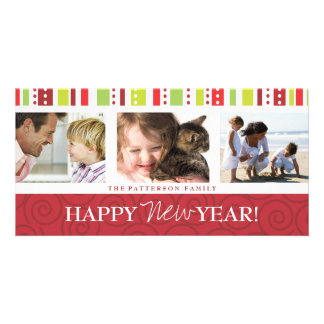 Happy New Year Festive Swirl Photo Collage in Red Custom Photo Card