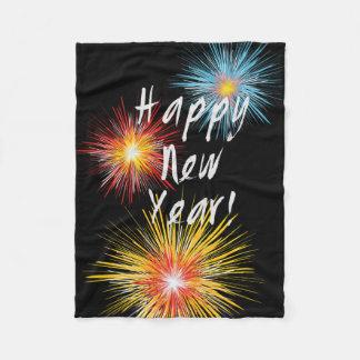 Happy New Year Firework Fleece Blanket