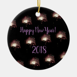 Happy New Year Fireworks Ceramic Ornament