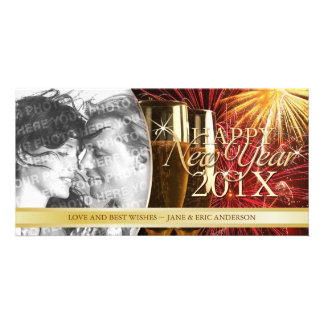 Happy New Year Fireworks Champagne photocard Photo Greeting Card