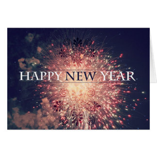 Happy New year fireworks greeting card. Card
