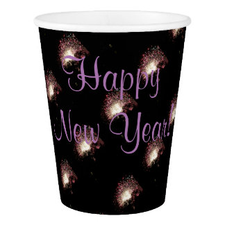 Happy New Year Fireworks Paper Cup