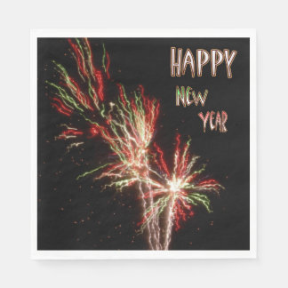 Happy New Year Fireworks Paper Napkins