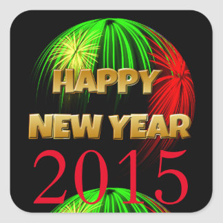 Happy New Year Fireworks Square Sticker