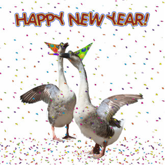 Happy New Year from Partying Geese Photo Cut Outs