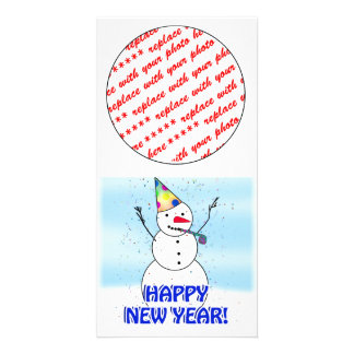 Happy New Year from the Celebrating Snowman Personalized Photo Card
