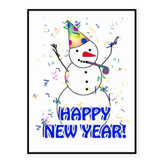 Happy New Year from the Celebrating Snowman Postcard