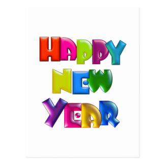 HAPPY NEW YEAR fun 3D-like Greeting Cards Postcard