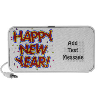 Happy New Year - Fun Red Text With Confetti iPhone Speakers