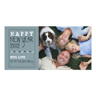 Happy New Year Fun Sketch Blue Black White Customised Photo Card