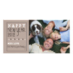 Happy New Year Fun Sketch Tan Black White Photo Cards