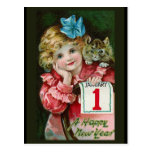 """Happy New Year Girl"" Postcard"