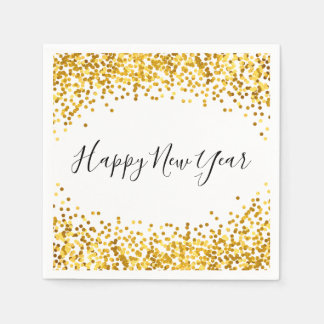 Happy New Year Gold Confetti Holiday Napkin Disposable Napkin