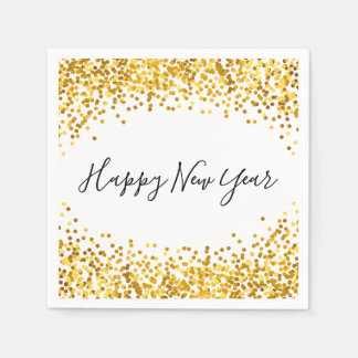 Happy New Year Gold Confetti Holiday Napkin Disposable Serviettes