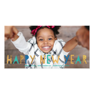 Happy New Year Gold Faux Foil w/ Aqua | New Year Customised Photo Card