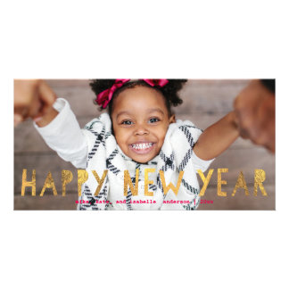 Happy New Year Gold Faux Foil w/ Pink | New Year Picture Card