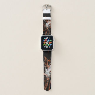 Happy New Year Gold fireworks with smoke Apple Watch Band