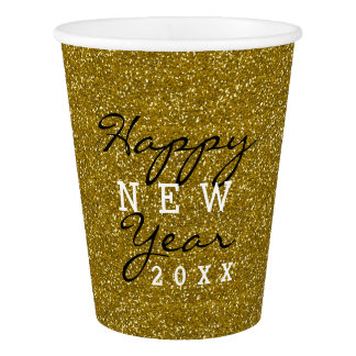 Happy New Year Gold Glitter Paper Cup