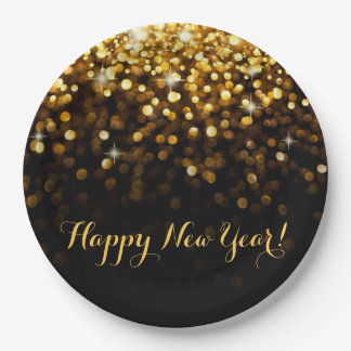 Happy New Year Gold Glitter Sparkles New Years Eve Paper Plate