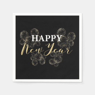Happy New Year Gold Napkin Disposable Napkins