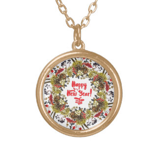 Happy New Year Gold Plated Necklace