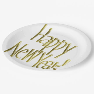 Happy New Year - Gold Text (Add Background Color) 9 Inch Paper Plate
