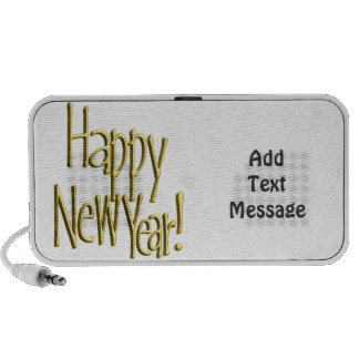Happy New Year - Gold Text (Add Background Color) Mp3 Speaker