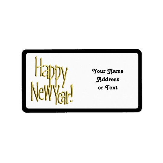 Happy New Year - Gold Text Address Label