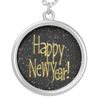 Happy New Year - Gold Text on Black Confetti Personalized Necklace