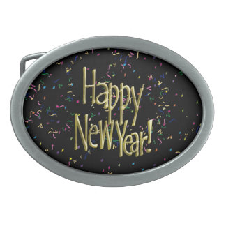 Happy New Year - Gold Text on Black Confetti Oval Belt Buckle