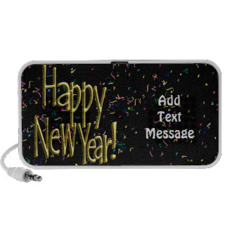 Happy New Year - Gold Text on Black Confetti Speaker System