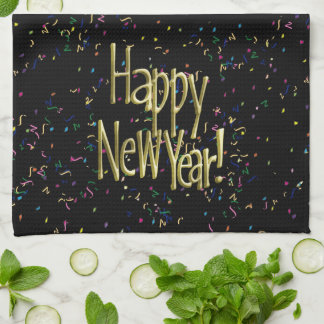 Happy New Year - Gold Text on Black Confetti Kitchen Towels