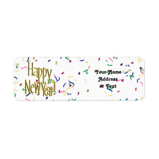 Happy New Year - Gold Text on White Confetti Return Address Label