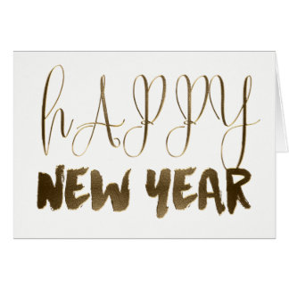 Happy New Year Golden Text Gold Typography Card