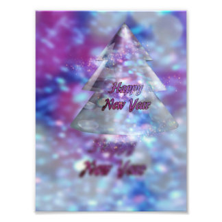 Happy New Year greeting, Ice fir tree photo print